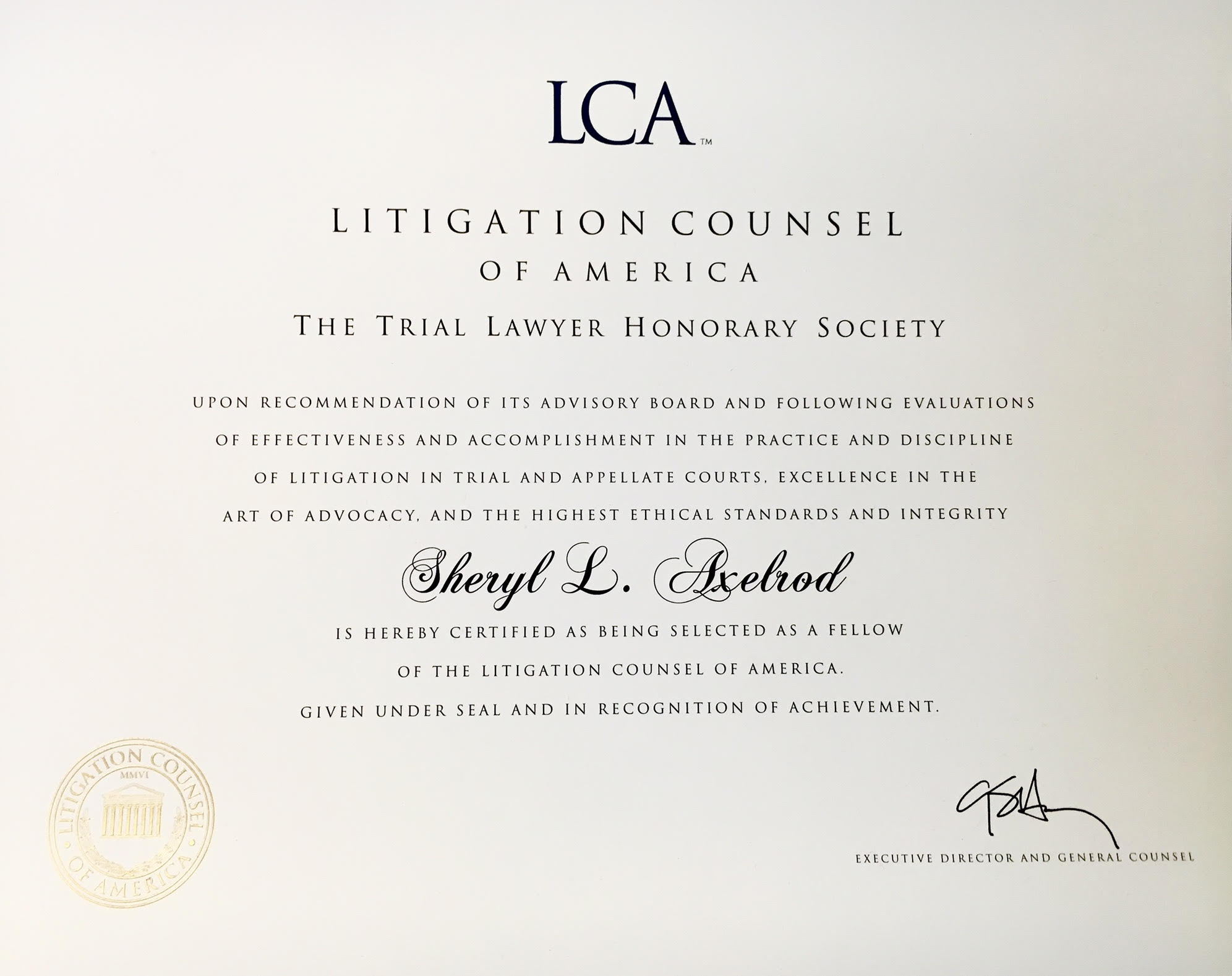 LCA Certificate of Membership