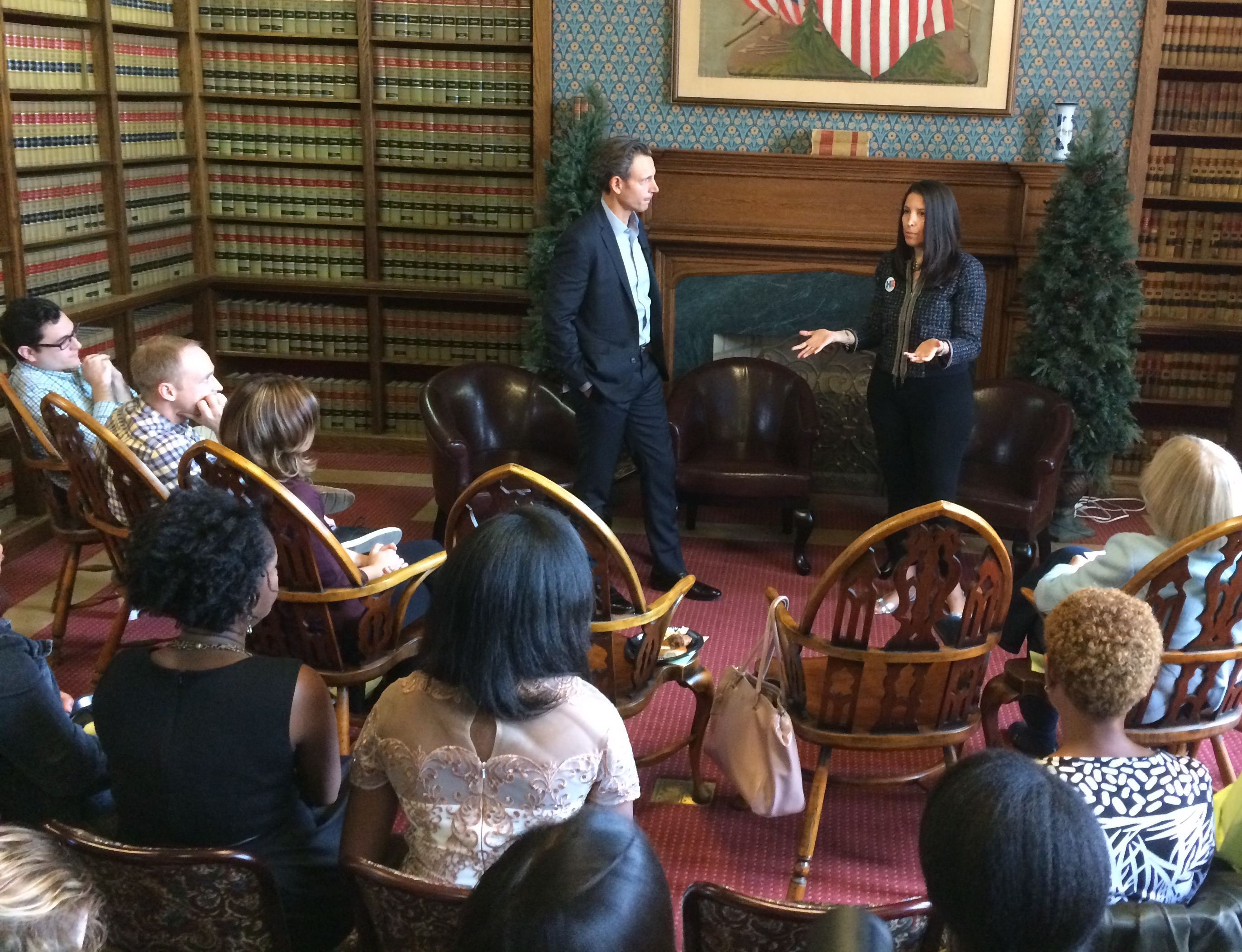"""Scandal"" Actor Tony Goldwyn and Firm President Sheryl Axelrod engaging the crowd in a discussion on voter protection."