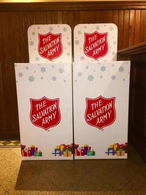 Toy donation boxes waiting to be filled for children in Salvation Army shelters across Philadelphia. Donate by bringing new, unwrapped toys and/or toiletries from noon to 7 pm from now until December 15 to the donation box in the lobby of The Beasley Firm at 1125 Walnut Street in Philadelphia.