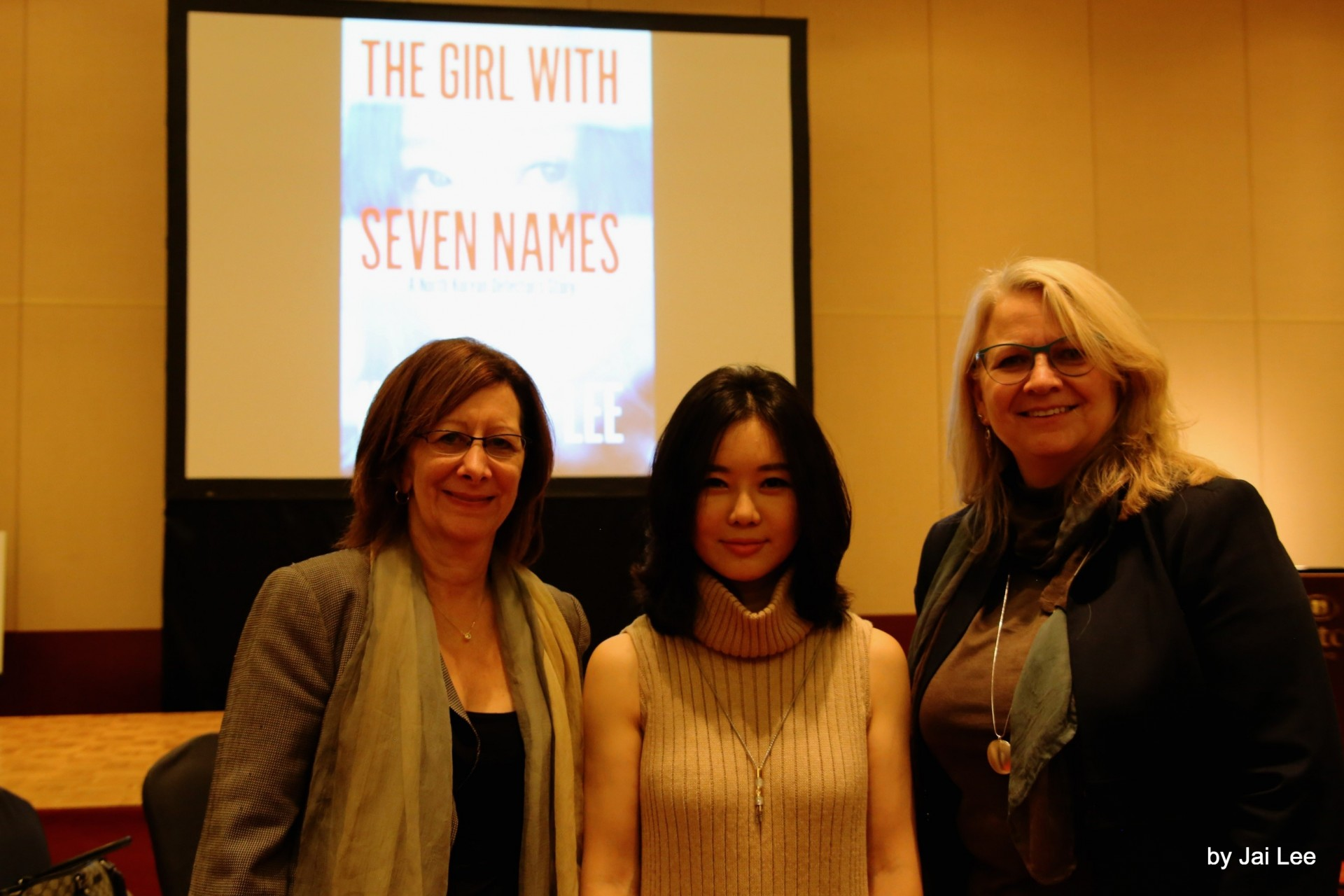 "Lisa Savitt with Guest Speaker and author of the book, ""The Girl with the Seven Names,"" Hyeonseo Lee, and the Chair of the ABA Section of International Law, Sara Sandford."
